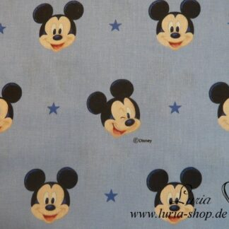 Stoff Baumwolle Mickey Mouse Lizenzstoff hellblau