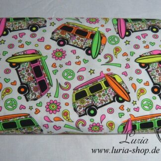 Jersey Baumwolle neon peace bus / Flower power