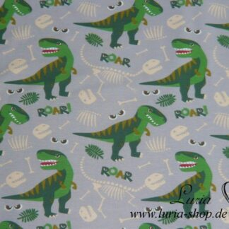 Sommersweat / French Terry Baumwolle Jersey Dinosaurier / Dino lifecycle grün auf blaugrau